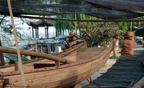 Hand crafted wooden boat