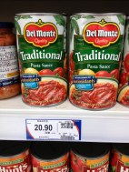 We love to make our own spaghetti sauce; however, this is just easier to make. Doctor it up a bit and add a boat load of garlic, not bad. $3.34