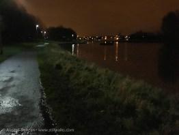footpath and lake at night