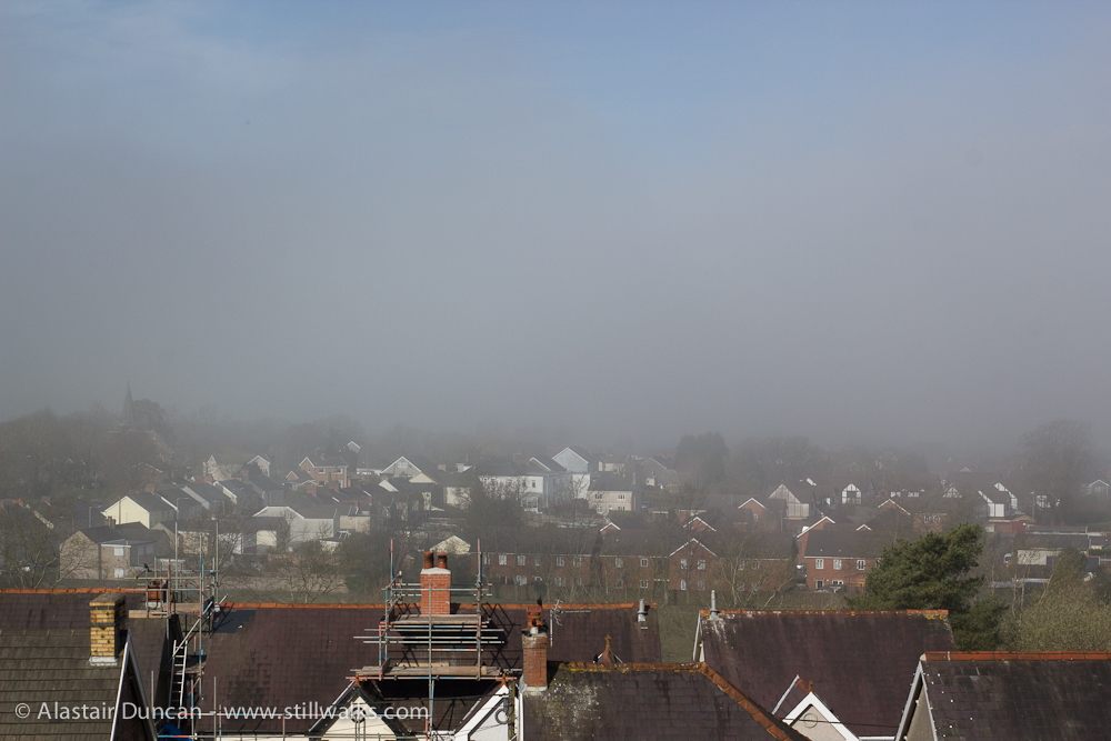 mist over town