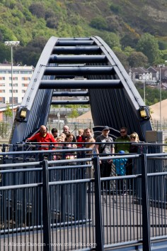footbridge and River Tawe lock