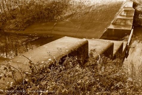 sepia photo of Llansamlet Lake outlet