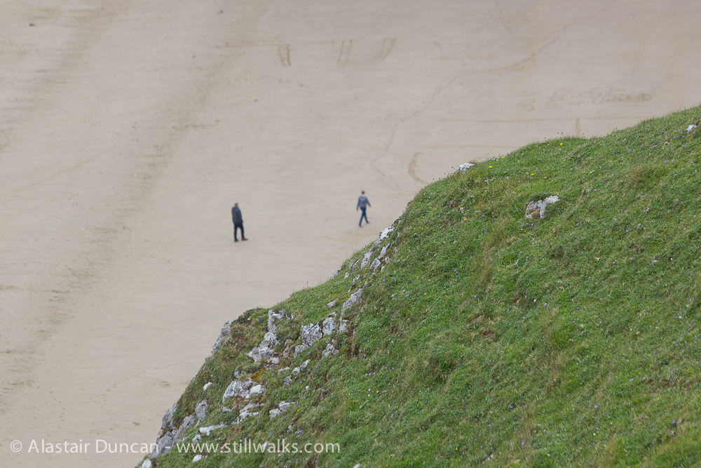 Rhossili beach people from above
