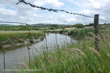 barbed wire and river