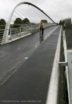 York Millennium Bridge cyclist