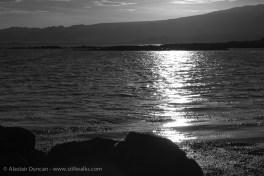 sunset over the sea - monochrome