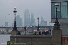Misty London skyline