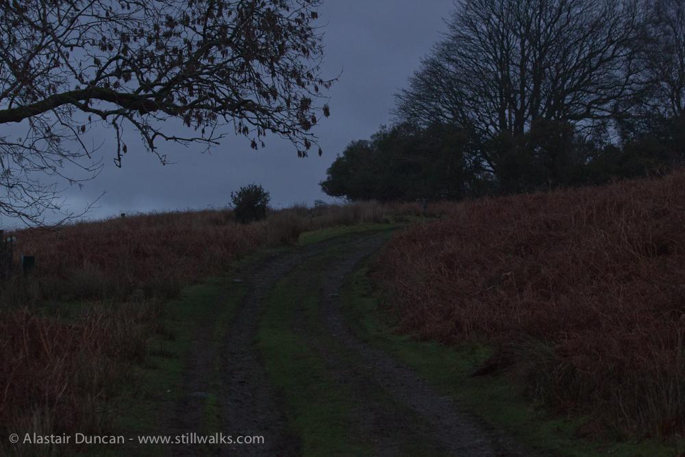 Dim uphill footpath