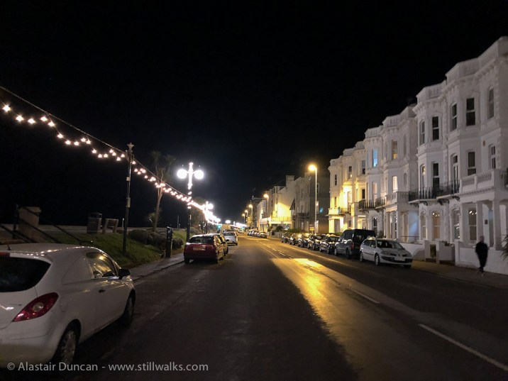 Worthing seafront at night