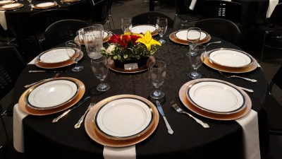 Garden Party provided the beautiful place settings and centerpieces.