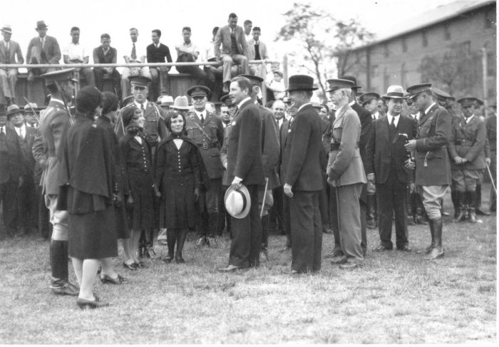 U.S. Secretary of War Patrick Hurley greets OAMC ROTC's honorary colonels in 1932. Courtesy of  OSU Special Collections and  University Archives