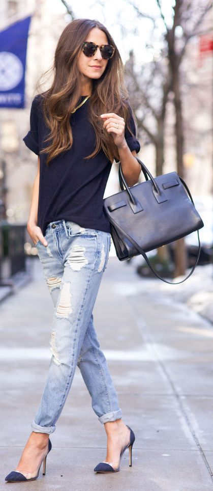Denim And Navy Outfit Idea