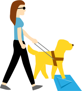 a blind woman walks with her guide dog over an accessible social distancing indicator