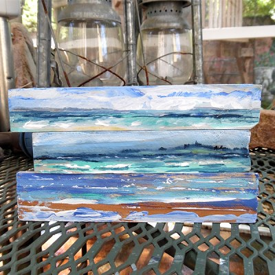 Fine Art Seascapes on Faux Driftwood Shims