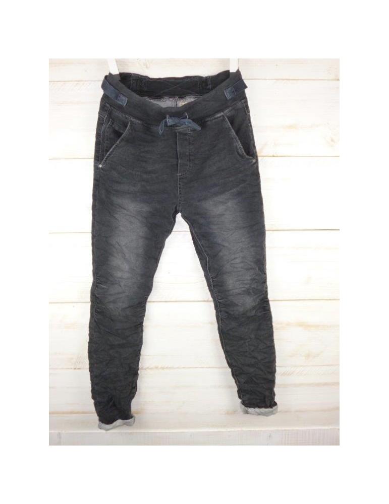 Melly  Co Jeans Hose Jogging Jog Pants grau verwaschen Jeansstoff Vintage Ibiza