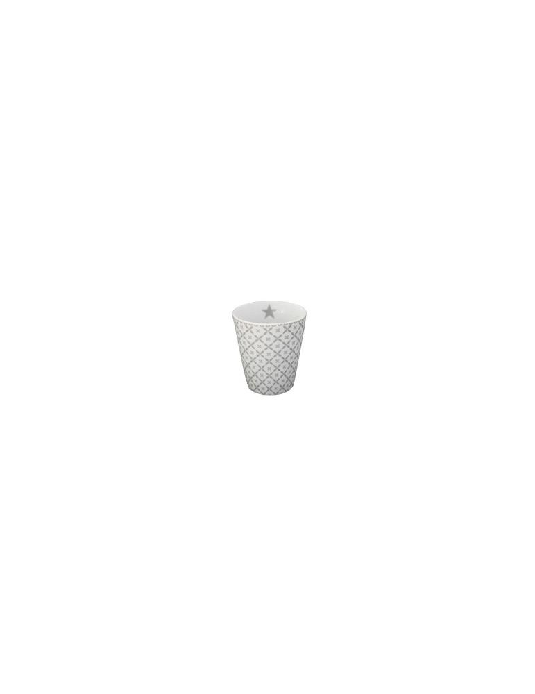 Krasilnikoff Porzellan Kaffeetasse Tasse Becher wei hellgrau Diagonal HM 180