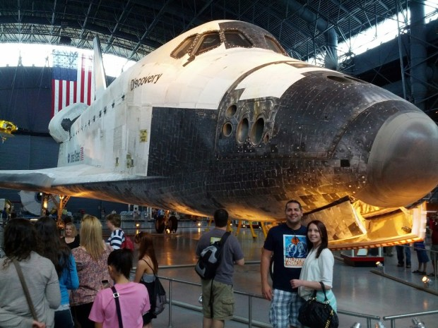 With the Space Shuttle Discovery