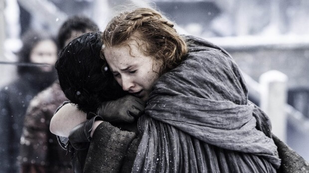 Sansa reunites with Jon Snow at Castle Black in Game of Thrones.