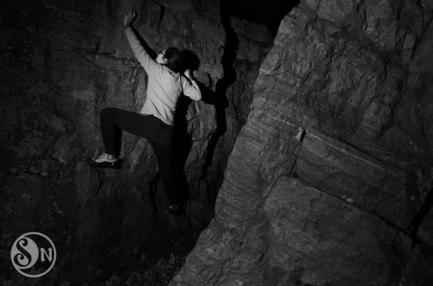 Bouldering in the dark.