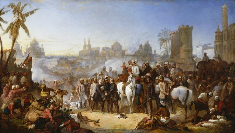 Painting titled The Relief of Lucknow 1857 by Thomas Jones Barkerby