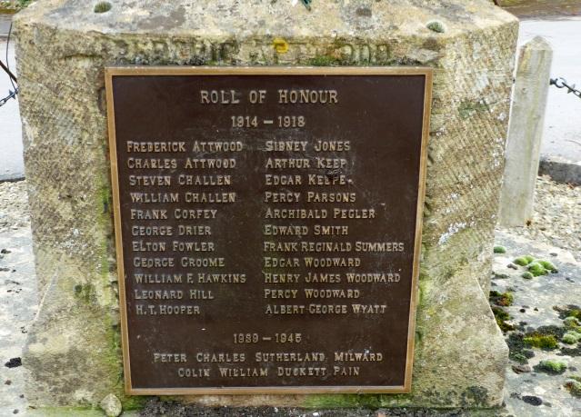 Plaque on Stinchcombe War Memorial