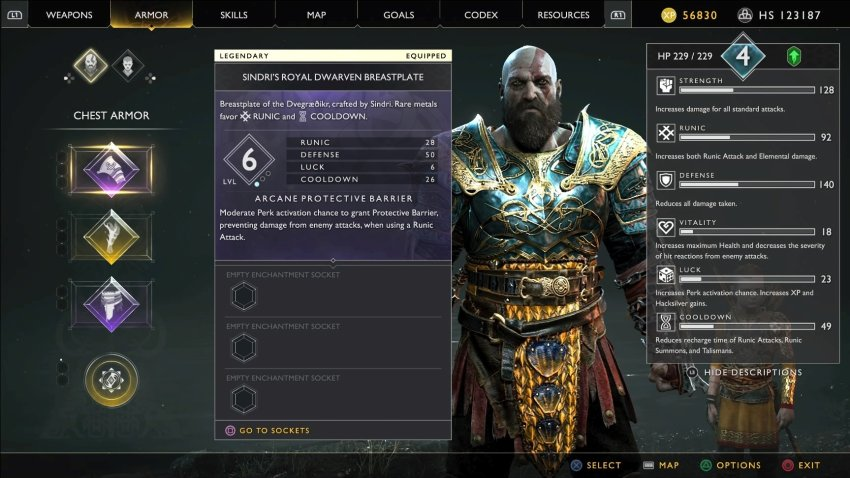 God of War Stats and Armour