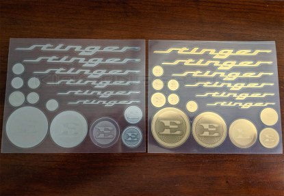 metal stickers in silver and gold