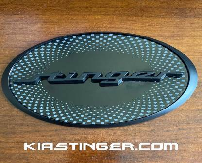 oval stinger badge matte black checkered center