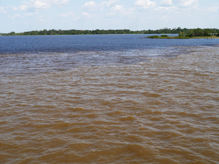 'The Meeting of the Rivers' the white Solimoes River meets the black Rio Negro river close to Manaus.Amazon boat trip
