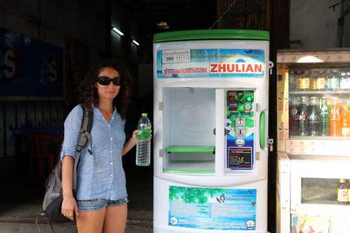 Water dispenser machine. Kanchanaburi backpacking guide