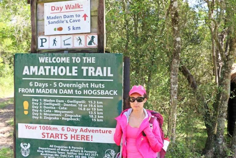 Alya at the beginning of the Amatola Trail