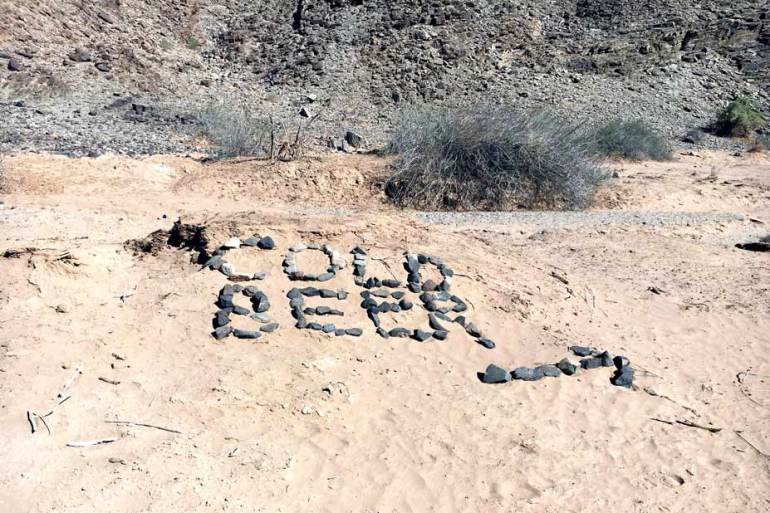A Cold Beer sign at the end of the Fish River canyon hike