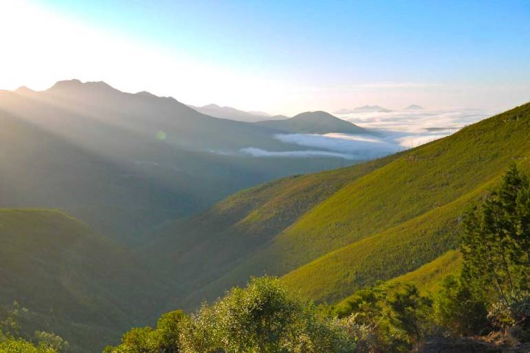 A stunning view of the mountains from Windmuelnek hut on the Outeniqua Trail