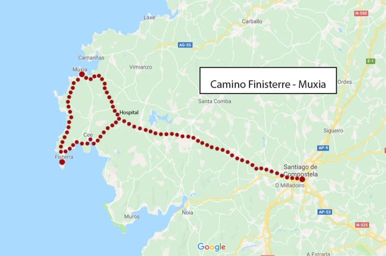 Camino Finisterre from Santiago de Compostela