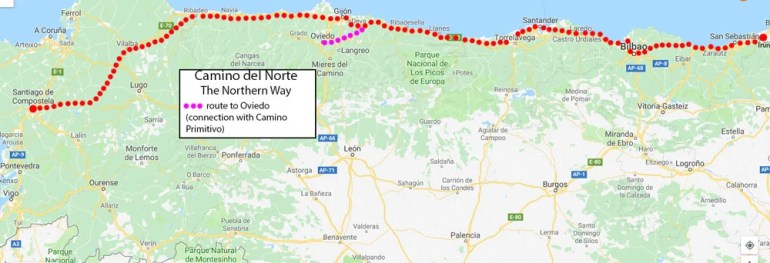Camino del Norte route map