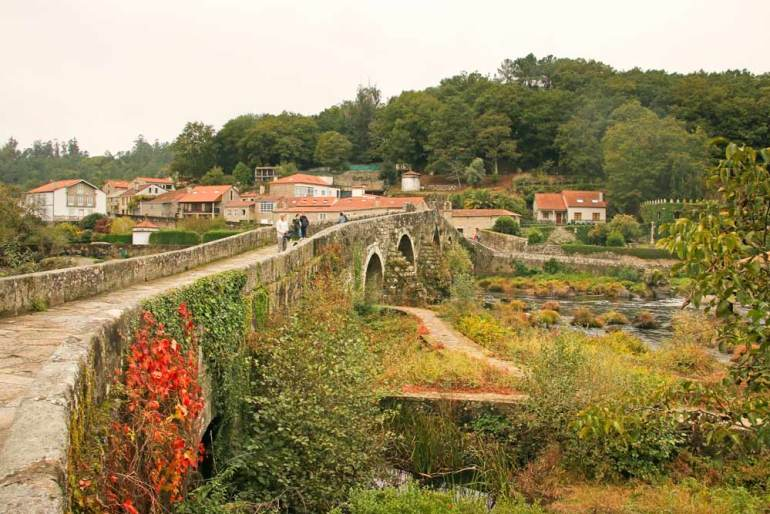 A stone bridge at Ponte Maceira on the first day of the Camino walk