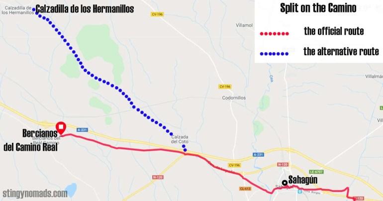 A split on the Camino Frances after Sahagún