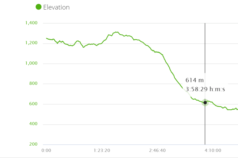 Elevation profile stage 27 of the Camino Frances