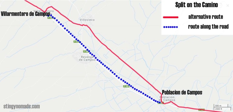 Route split on the Camino Francess stage 16