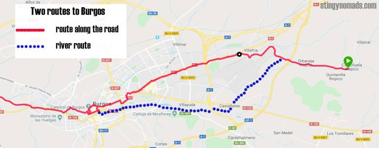 Two route options on the Camino Frances on the way to Burgos