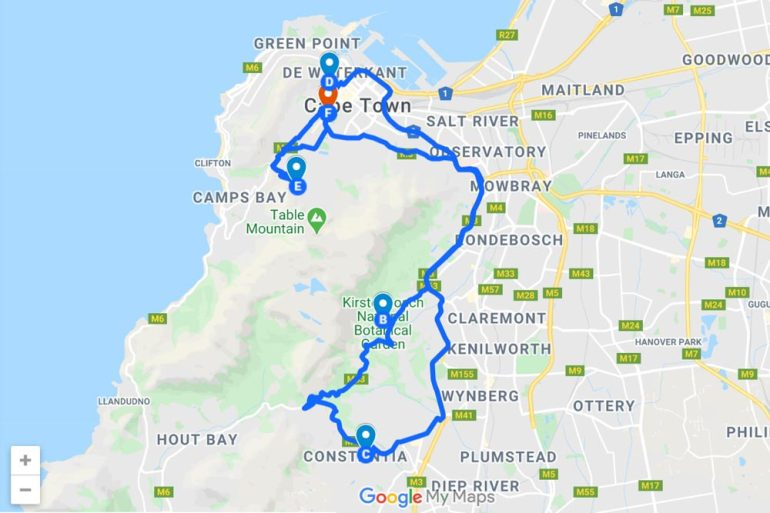 Map of the attraction to visit on the day one of your Cape Town itinerary