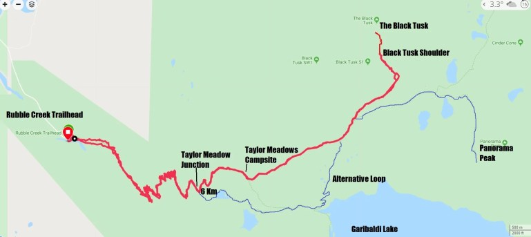 Hiking Map to Black Tusk in Garibaldi National Park