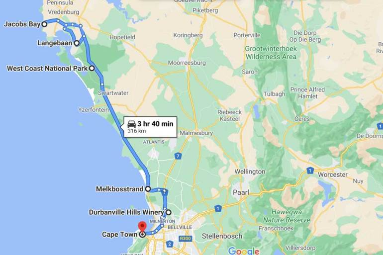 A route map of the drive along the West Coast from Cape Town