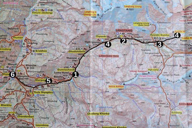 Langtang trek route map, a 6-day itinerary