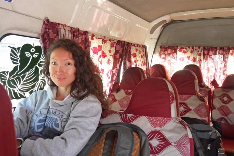 Alya in a bus from Kathmandu to Pokhara, Nepal