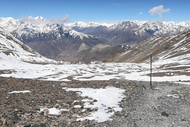 Breathtaking view of the mountain from Thorong La Pass, Annapurna Circuit, one of the best treks in Nepal