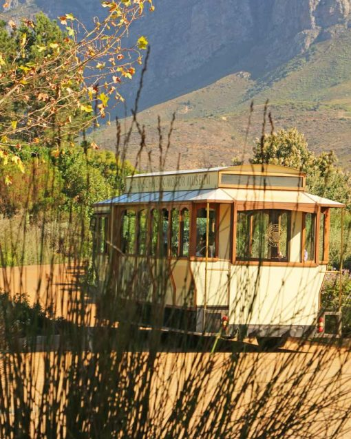 A tourist wine bus in the vineyrads near Franschhoek, Cape Town