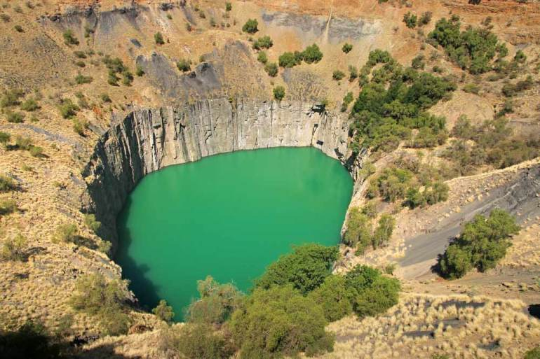 The Big Hole diamond mine lake in Kimberley, a popular destination in Northern Cape