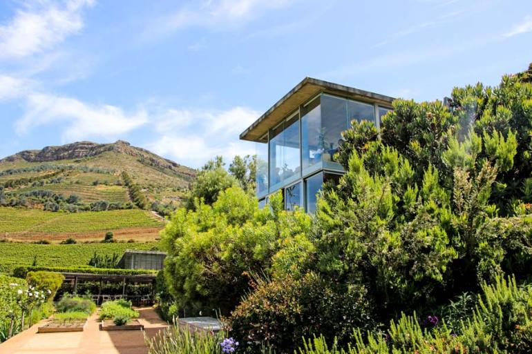 The Beautiful tasting venue at Beau Constantia with fantastic views blends perfectly into the natural environment.