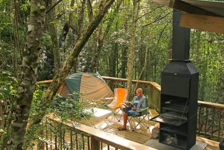 deck-campsite in Diepwalle, Knysna on honeymoon Garden Route